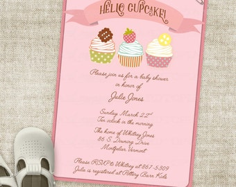 Pink Hello Cupcake Baby Shower Invitation for Baby Girl - Banner Custom Digital Printable File with Professional Printing Option - Cardtopia
