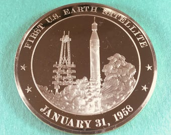 Franklin Mint Medal History of United States Series 1st Earth Satellite 1958, 44 mm Bronze Mint Cond<>#PSY-17