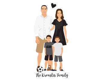 Custom Portrait, Family Portrait, Personalised Gift, Portrait, Family, Custom Gift, Portrait Painting, Illustration, Portrait Drawing
