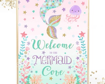 Mermaid Birthday Sign Mermaid Table Sign Mermaid Welcome Sign