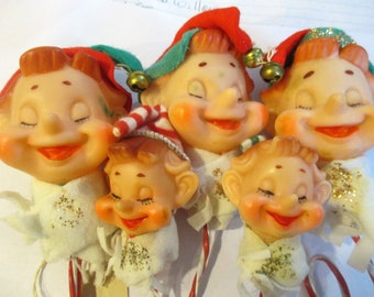 Vintage Set Of Five Christmas  Elves Pixies Plastic Candy Stripe Bodies Felt Hats Glitter Made In Japan