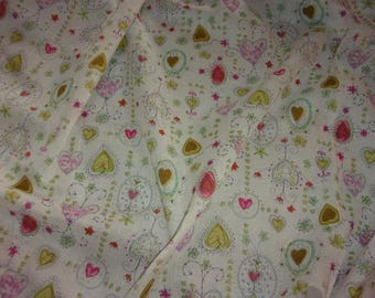fabric very fine vintage, small hearts in the spirit of the graphics of Peynet dolls
