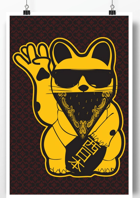 West Cat Poster west coast gangster lucky cat west side