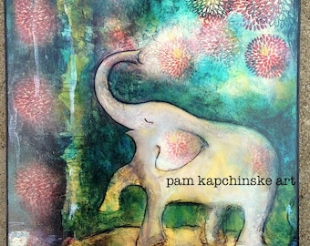 "Elephant Art--Wood Mounted Archival Print of Original Mixed Media Art with Hand-Painted Details--""Elephant Bliss""--Pam Kapchinske"