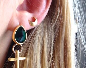 Emerald-cross & moon set