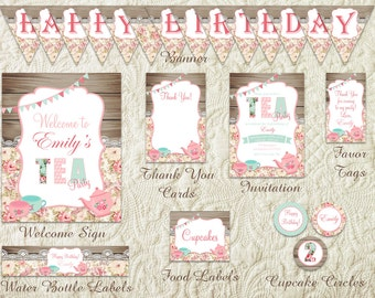 Shabby Chic Tea Party Package, Birthday Tea Party Package, Shabby Chic Birthday Party Package, Tea Party Decor, Floral Tea Party Printable