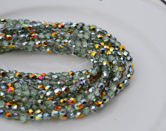 Peridot Marea 4mm Faceted Fire Polish Round Czech GLass Beads 50