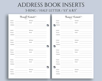 address book inserts personal and business contacts pages phone book and addresses half letter 55 x 85 mini 3 ring