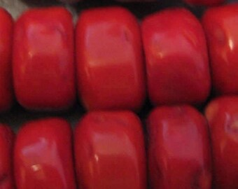 Bamboo Apple Red Coral Discs Beads 4pcs
