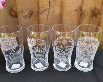 Sugar Skull Glasses - Wedding Gift - Dia De Los Muertos -Day of the Dead -Groomsmen Gifts - Sugar Skull Gift -  Sugar Skull Wedding