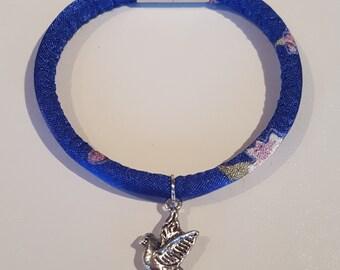 Blue Flowery Bird Charm Bracelet