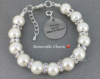 Will you be my Maid of Honor Maid of Honor Gift Maid of Honor Bracelet Maid of Honor Jewelry Wedding Pearl Jewelry