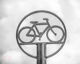 Bicycle Parking Sign Black and White  - Fine Art Photography Print Picture