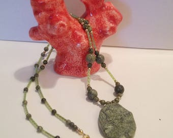 Green and Gold Necklace with Dragonfly
