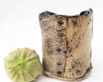 Grey Bark Textured Clay Tumbler, Rustic Pottery Cup, Primitive Stoneware Cup, 8 oz, Wabi Sabi, Asymmetrical Weird