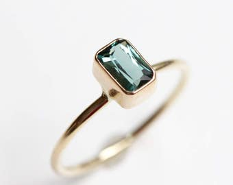 Teal Tourmaline Solitaire Ring in Recycled 14k Gold - Emerald Cut Green Gemstone - Engagement Ring - Diamond Alternative Engagement