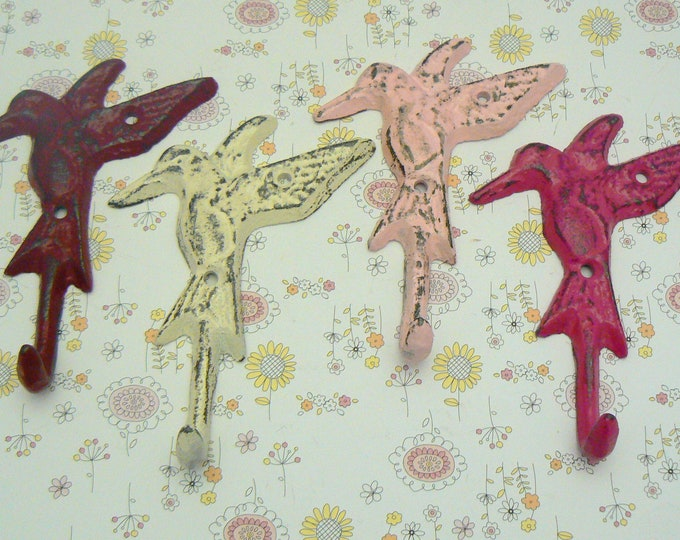 Hummingbird Set 4 Hooks Cast Iron Shabby Chic MINI Wall Hook Red White Hot Berry Pink