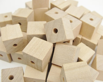 """Wooden cube beads, square bead, 1/2"""" with a 1/8"""" hole"""