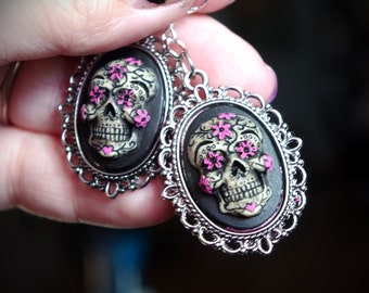 Pair Black and Pink Sugar Skull Day of the Dead Dia De Los Muertos Hand Made Sterling Silver Ear Wires Earrings