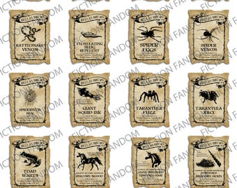 "HP3 | Printable Labels | 19 Magic Potion Labels |  Harry Potter Inspired | Digital Download | 2"" x 1.5"""