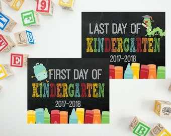 Back To School - Last Day of Kindergarten - First day of Kindergarten - First Day Chalkboard Sign- First Day of School Sign - PRINTABLE 8x10
