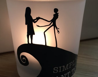 Nightmare Before Christmas, Jack and Sally, Personalized Candleholder, Valentine's Day Gift