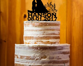 Customize Cake Topper, Mr. & Mrs. Last  Name Cake Topper, Bride and Groom Wedding Cake Topper, Wedding Cake Topper - AT263