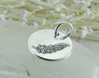 PMC Artisan Jewelry, Personalized Fine Silver Feather Pendant, Original Design