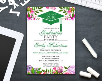 Printable invitations cards instant download diy by ameliycom graduation invitation printable green college graduation party announcement template high school graduation party invitation stopboris Image collections