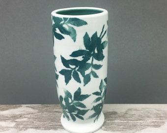 Modern Porcelain Flower Vase, Teal Green Floral Printed Vase