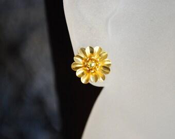 Gold Flower Earrings -- Studs, Gold Metal