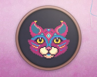 Animal Cross Stitch • Modern Cat Cross Stitch Pattern • Cute Mandala Hoop Art • Easy Counted Cross Stitch PDF • Mystic Cat XStitch Pattern