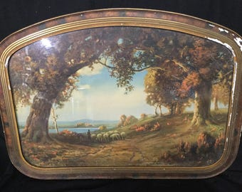 "R. Atkinson Fox Print ""Indian Summer"" Unique Arched Vintage Frame"