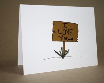 Cute I Love You Card- I Love You