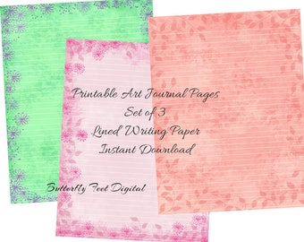 Printable Stationery, Lined Paper, Journal Pages, Floral Paper, Flowers and Leaves, Set of 3, Instant Digital Download