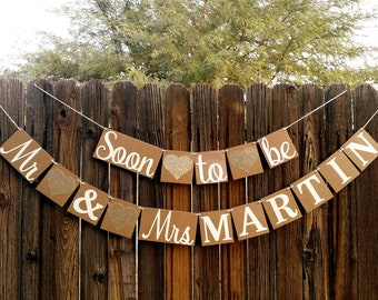 Engagement Banner, Soon to Be Mr. & Mrs Banner, Engagement Party Decor, Rustic, Engagement Party Ideas, Wedding Reception, Couple Shower