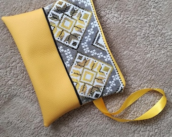 Mustard faux leather and fabric pouch