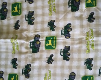 John Deere Tractor Cotton Fabric Tan And White Check