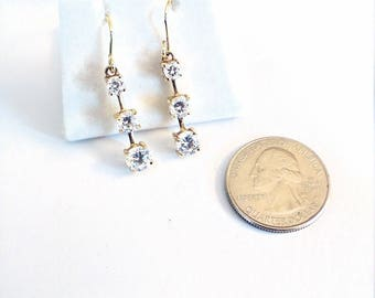 Vintage Sterling Silver Gold Plated 3 Stone Drop Earrings