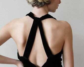 Vintage 1930s Black Velvet Full Length Halter Party Dress