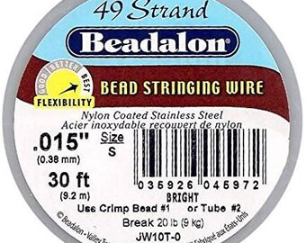 Beadalon Stringing Wire, Nylon Coated Stainless Steel Wire, 49 Strand Wire .015, 30 ft. Spool, Jewelry, Beadalon, Stringing, Wire