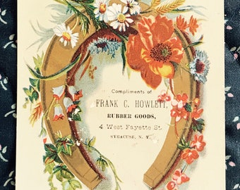 Victorian Trade Card 1800s, Gold Horseshoe Surrounded By Colorful Flowers, Frank C Howlett Rubber Goods, Wonderful Antique Collectible