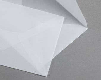 C6 Translucent Vellum Envelopes Invitation Style Diamond/V Flap transparent