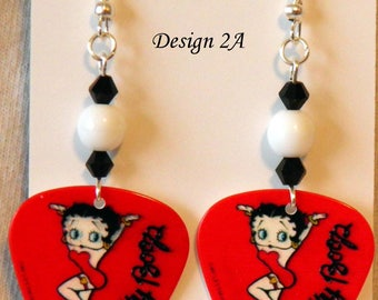 BETTY BOOP on Red Guitar Pick Beaded Earrings - Handmade in USA