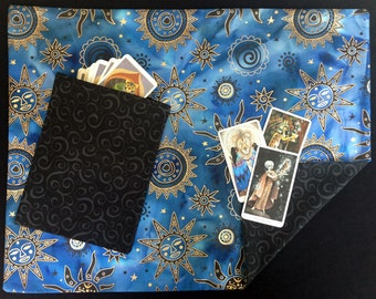 Tarot Cloth. CELESTIAL RAVEN. Reversible spread cloth for tarot cards, runes & altars. Altar cloth. Matching tarot bag option. Tarot gifts.