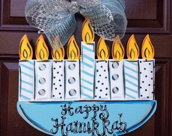Hanukkah Door Hanger,Menorah door hanger, Hanukkah wreath Jewish art, Jewish door hanger