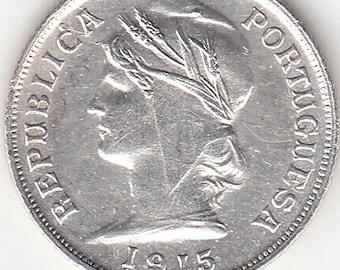 Portugal, 10 centavos de 1915, silver coin