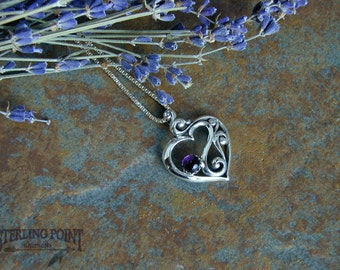Sterling Cast Silver Heart Pendant with Amethyst Cabochon Gemstone. Very Feminine, Scroll Design, Show your Love, Gift for Her, Gift for Mom