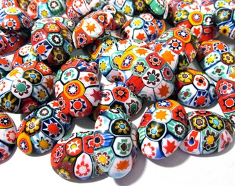 Murano Millefiori Cabochons 18mm x 25mm VINTAGE 1970 Fifty (50) MILLEFIORI Venetian Glass Murano Cabs Large Lot Jewelry Mosaic Supply (M125)