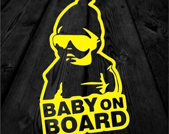 Cool Baby on Board Child Safety Vinyl Decal   Cool Baby Car Decal   Baby with Beanie and Glasses Decal   Car Sticker   167
